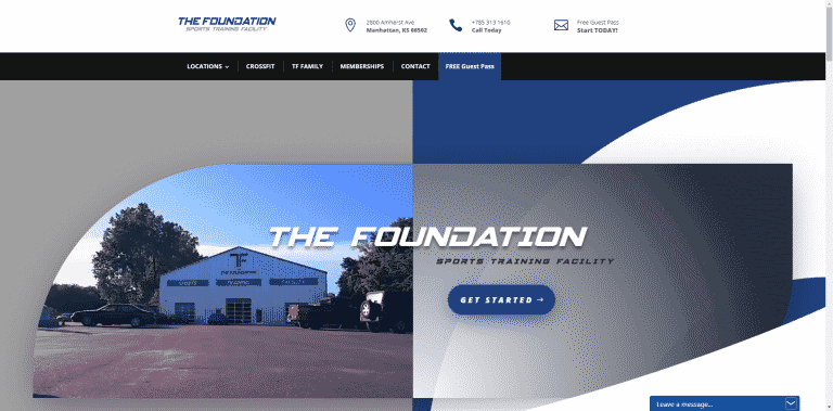 MKS Web Design Portfolio - The Foundation Sports Training Facility from Manhattan and Kansas City